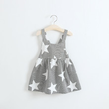 Suspender Dress Girls Star Striped Bow Holiday Dresses For Girl European Style Beach Girls Braces Dress Children Clothing