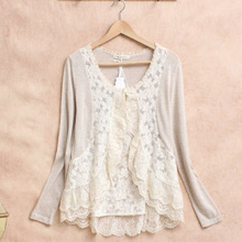 Spring Mori Girl Sweet Shirt Women's Crochet Lace Ruffle Cute Long Sleeve Cotton Linen Female Blusas Blouses Cardigan U053(China)