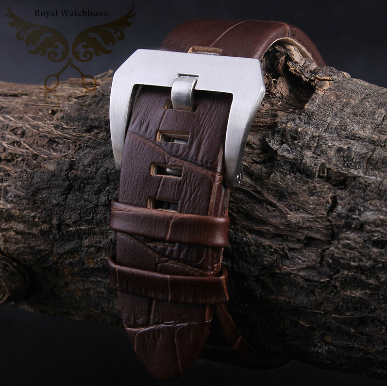22mm New High Quality Men Brown Crocodile Pattern Genuine Leather Watch Band Strap With Silver Brushed Depolyment Clasp<br>