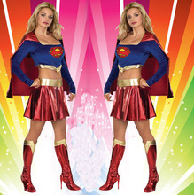 Halloween Super Man Women Costumes Cosplay Supergirl Clothes Fashion Fancy Hero Heroine Superman Suits wholesale(China)