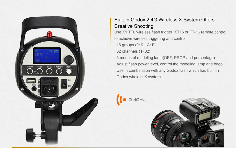 Godox SK300II Studio Flash With 2.4G Wireless X system+Bowen mount standard cover Gift (17)