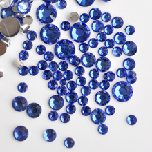 400pcs 2-6mm Mix Size Royal Blue 3D Nail Art Glitter DIY Crystal Flatback Non Hotfix Flatback Nail Design Rhinestones Beads N11(China)