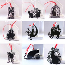 Free shipping Cute Kawaii Metal Bookmarks Black Cat Book Marker for Books Paper Clip Kids Gift School Supplies 3028
