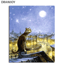 Cat Frameless Pictures DIY Painting By Numbers Oil Painting By Numbers On Canvas Europe Home Decoration Wall Art GX4450 40*50cm(China)