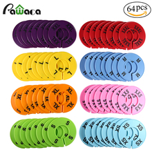 64 Pcs Dividers Closet Divider Clothing Rack Round Hangers Closet Dividers 8 colors Garment Tags Marking ring Size XXS to XXXL