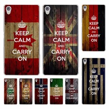 keep calm and carry on grunge flag hard transparent Cover Case for Sony Xperia z5 compact z5 premium z4 z3 M4 M5 XA