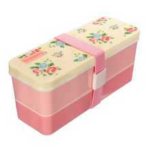 Cute PP 2 Tiers Lunch Box Food Container Case Storage With a Belt Lunchbox Kitchen 15.5x5.8x7cm Pink