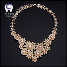 HanCheng New Fashion Golden/Silver Metal Rhinestone Pearl Choker Necklace Women Necklaces Statement collar jewelry bijoux