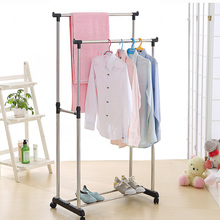 iKayaa US UK FR Stock Garment Rack Steel Double Rail Clothes Garment Dress Hanging Rack Display Organizer on Wheels Shoes Rack
