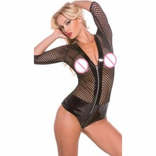 Buy $2 Hot New Fetish Sexy Lingerie Sexy Black Leather Latex Catsuit Zip Front Fishnet Vinyl Bodysuit Sex Women Erotic Underwear