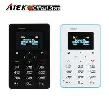 Russian Keyboard AIEK M5 Card Cell Phone 4.5mm Ultra Thin Pocket Mini Phone Quad Band Low Radiation AEKU M5 Card Pocket Phone(China)