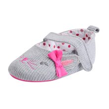 Infant Baby Shoes Cute Animal Prints Knit Prewalker Baby Girls Butterfly-knot Hook & Loop Spring/Autumn Toddler Crib Shoes(China)