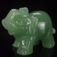 MAYITR 1.5inch Green Aventurine Elephant Figurine Carved Craft For Home Party DIY Decor