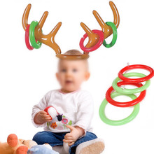 1Pcs Funny Inflatable Reindeer Antler Hat Ring Toss Game New Year Toys For Children Kids Headgear Novelty Christmas Party Toy(China)