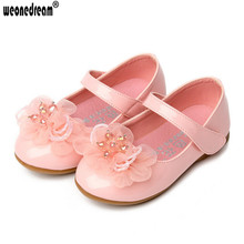 WEONEDREAM Children's Leather Shoes Girls Performance Autumn New Fashion Brand Dress 3 Colors Princess Kids Girls Wedding Shoes(China)