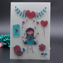 10x15CM Clear Stamp scrapbooking stamp sweet heart swing girl bird flower mail album Card embossing transparent stamp template