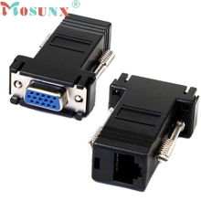 Top Quality Hot Sale New VGA Extender Female To Lan Cat5 Cat5e RJ45 Ethernet Female Adapter JUN 28 Drop Ship