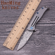 Hot Damascus small folding knife titanium handle camping survival hunting EDC Multi-tool tactical Key Chains knives free shippin
