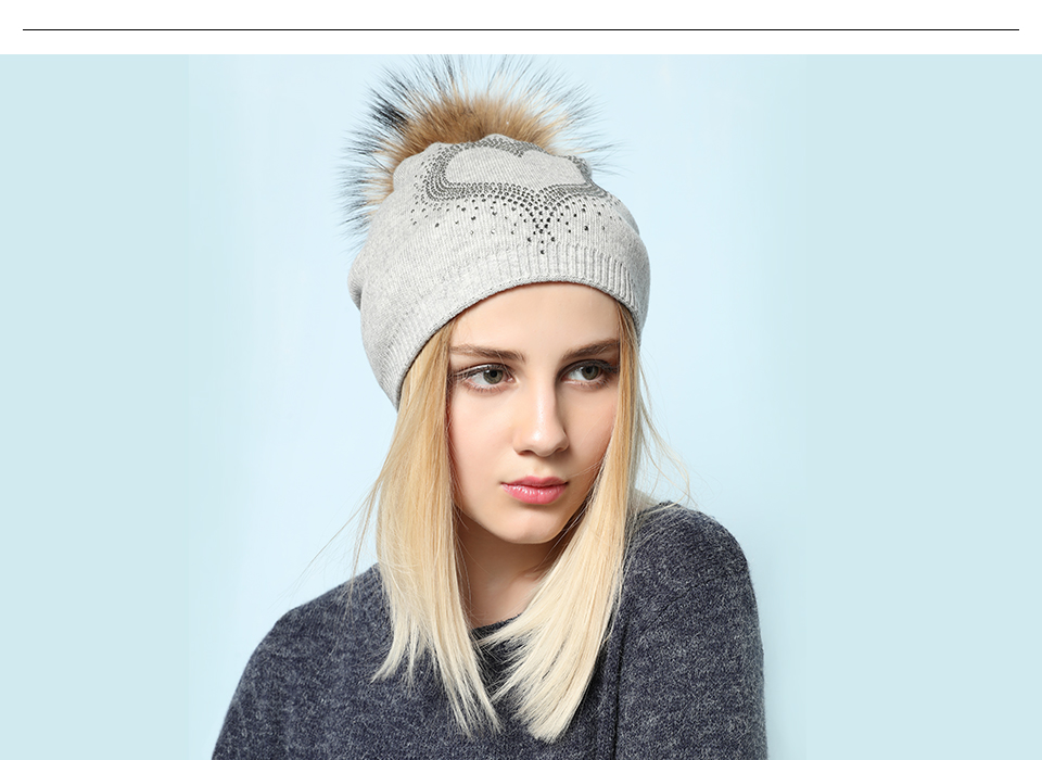 Ralferty 2018 New Real Fur Pompom Hats For Women Heart Pom Pom Beanies Thick Warm Wool Knitted Hat Women's Baggy Caps Bonnet 12