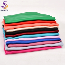 [BYSIFA] New Plain Women Long Silk Scarf Shawl 180*90cm Autumn Winter Luxury Candy Colors Silk Satin Scarves Muslim Head Scarves(China)