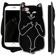 IMIDO Soft Silicon Case For iPhone 6 6s 7 8 7/8 Plus 5 5s SE phone case Cover For iPhone 6 6s Cat ear fashion cell phone sets(China)