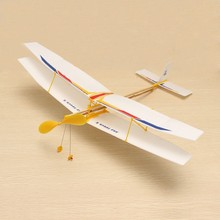 DIY Assembly Aircraft Plane Powered By Rubber Bind Outdoor Toy For Kids