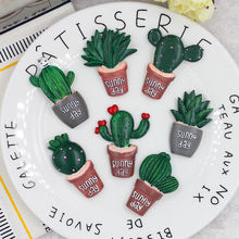 7pcs Creative 3D Wall Stickers Resin Cactus Plant Craft Stickers Self Adhesive Embellishment Decor For Adult Gift