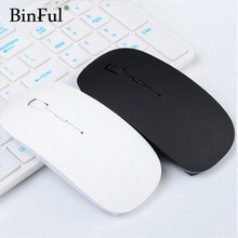 BinFul Ultra Thin USB Optical Wireless Mouse 2.4G Receiver Super Slim Mouse For Computer PC Laptop Desktop black Candy color