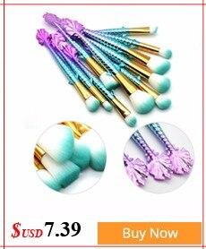 10PCS Mermaid Shape Makeup Brush Fish Scale Foundation Powder Eyeshadow Unicorn Makeup Brushes Contour Blending Cosmetic Brushes