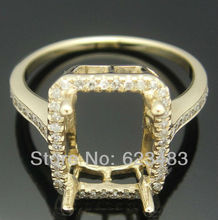 SOLID 14K YELLOW GOLD PAVE REAL   SEMI MOUNT RING SQUARE 9mmX6mm emerald cut