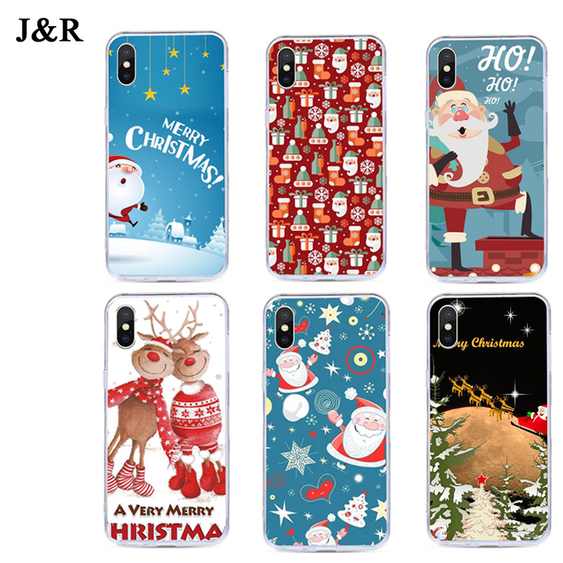Case For iPhone X XR XS Max Cover Cute Cartoon Christmas cases For iPhone 4 4S 5 5S SE 6 6s 7 8 Plus Cover Santa Claus Elk Soft
