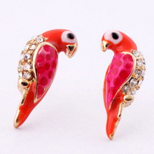 1Pair Wholesale New Loverly Animal Red Bird Stud Earrings Fashion Charms Crystal Earrings For Women Jewelry Christmas Gifts
