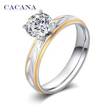 CACANA Titanium Stainless Steel Rings For Women Fashion Jewelry Wholesale NO.R108(China)