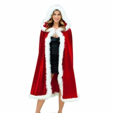 2017 Christmas Costume Women Sexy Long Santa Cloak Velvet Cape Red Riding Hooded Carnival Costume Female Christmas Cosplay(China)