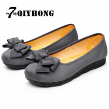 QIYHONG Cotton Flat Bottom Breathable Comfortable Peas Shoes Ladies Casual Shoes Spring / Autumn Shoes Solid Color And Bow