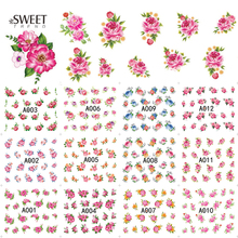 12 Designs in 1 Sweet Various Flower Designs Nail Art Stickers Beauty Water Transfer Nail Decals DIY tips Manicure LAA001-012(China)