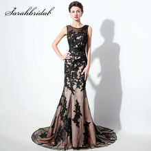 Plus Size Black Lace Apliques Longo Sereia Vestidos 2018 Tulle O-Neck Tribunal Trem Formal Mulheres Prom Party Vestidos SD325(China)