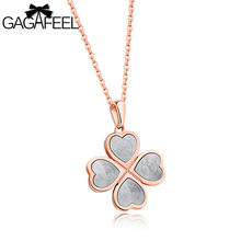 Gagafeel Laser Engrave Name Custom Heart Lucky Grass Pattern Women Necklace Jewelry Stainless Steel Choker Dropshiping Gift(China)