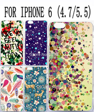 Soft TPU Hard Plastic Amazing Colorful Lovely Pattern Custom mobile cell phone case for apple iphone 6 4.7 iphone6 plus 5.5