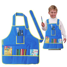 Hot Sale  New Arrival Children's Craft Apron Smock with 4 Pockets for Painting Kids School Art Class with drop shipping