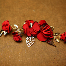 Jonnafe Handmade Red Flower Wedding Prom Hair Clip Jewelry Gold Leaf Bridal Hair Accessories Comb Headpiece
