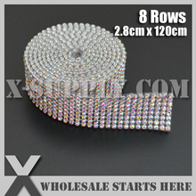 Free Shipping 8 Rows Rhinestone Banding Trim,Crystal AB(Rainbow) Color Rhinestones For Bridal Dress,Cake and Wine Standing(China)