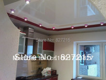 White Glossy Ceiling Film with Dark Red  LED Strip around the Ceiling