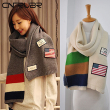 CN-RUBR Best Deal Good Quality Leadies Scarf  American Flag Long Wool Scarves Winter College Style Woolen Warmer Scarf Neck