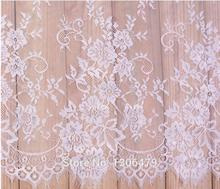 6 M / Lot French Eyelash Lace Fabric 150cm White Black Diy Exquisite Lace Embroidery Clothes Wedding Dress Accessories RS213(China)