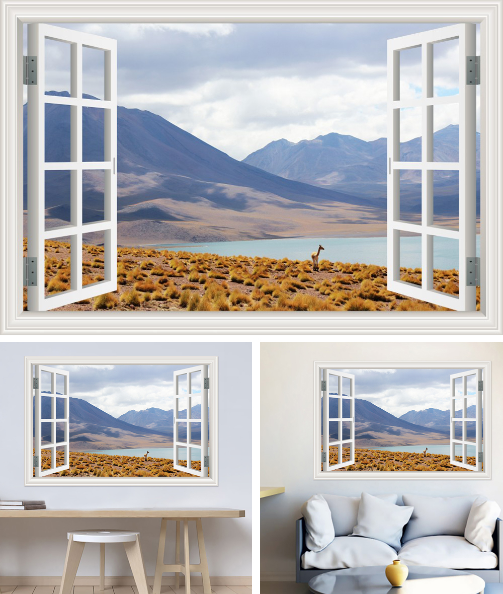 HTB1EnH.b7fb uJkHFNRq6A3vpXah - Modern 3D Large Decal Landscape Wall Sticker Snow Mountain Lake Nature Window Frame View For Living Room