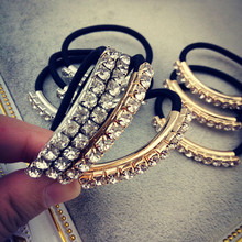 Fashion Women Bling Bling Crystal Rhinestone Gold/Silver Plated Metal Hair Tie Hair Holder Simple Black Rubber Band Headwear