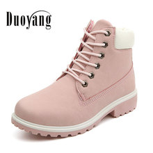 2017 Fashion casual warm women martin boot shoes ladies round toe lace- up winter snow boots(China)