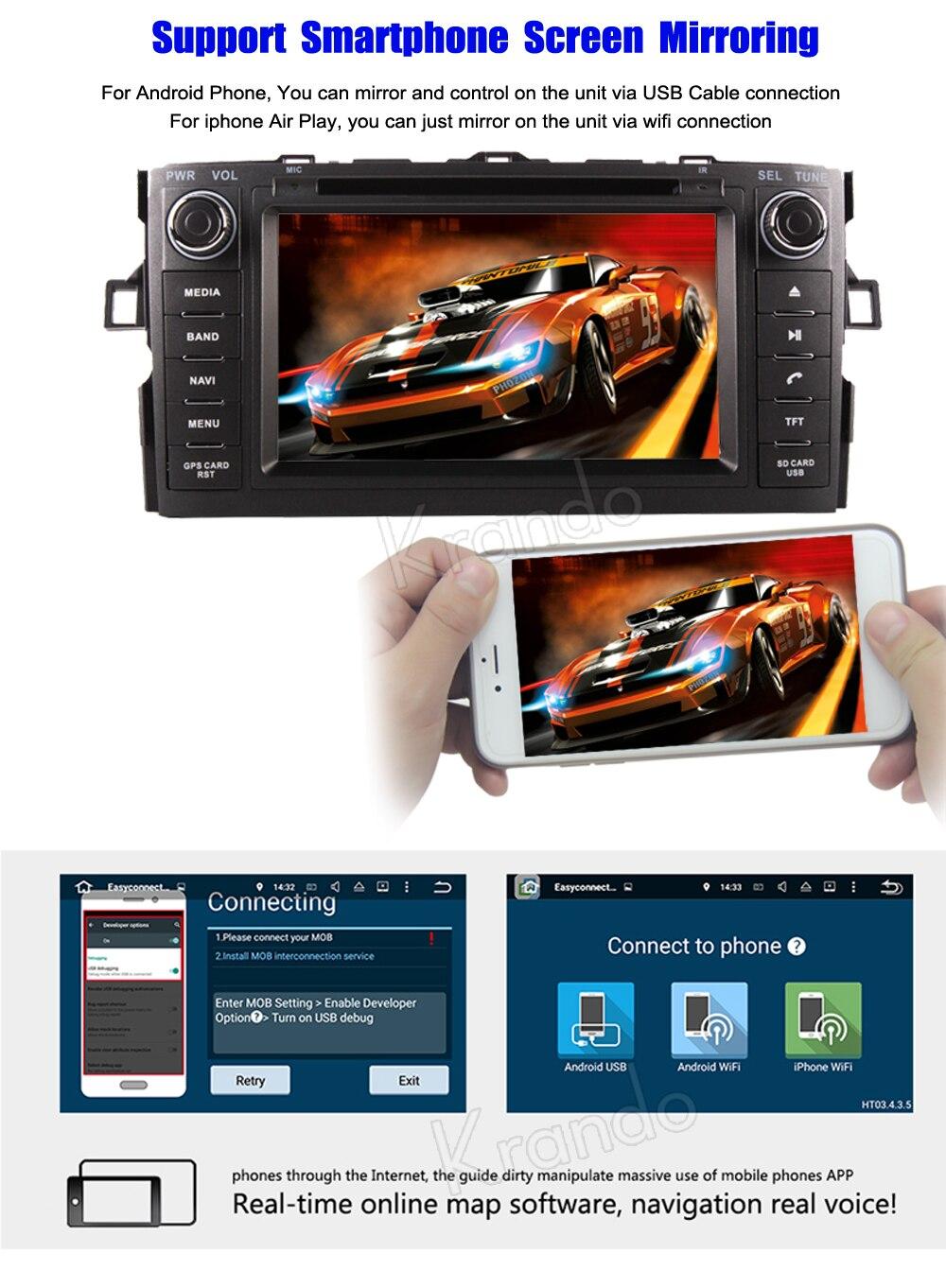 Krando toyota auris corolla hatchback Android car radio gps navigation multimedia system (10)
