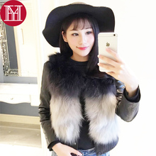 2017 real natural full fox fur coat 100% real fox ful fur and real genuine leather jacket good quality short fox fur outerwear